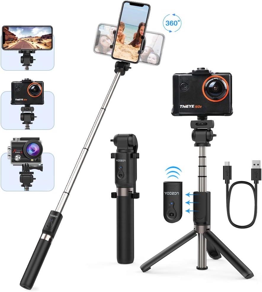 """Yoozon Bluetooth Selfie-Stick Stativ mit Fernbedienung Ausziehbar,Handgriff Aktionkamera Stick Tripod,Selfie Stange kabellos universal für GoPro,Action Cam und alle 3,5-6,5"""" iPhone Android Smartphones 1"""