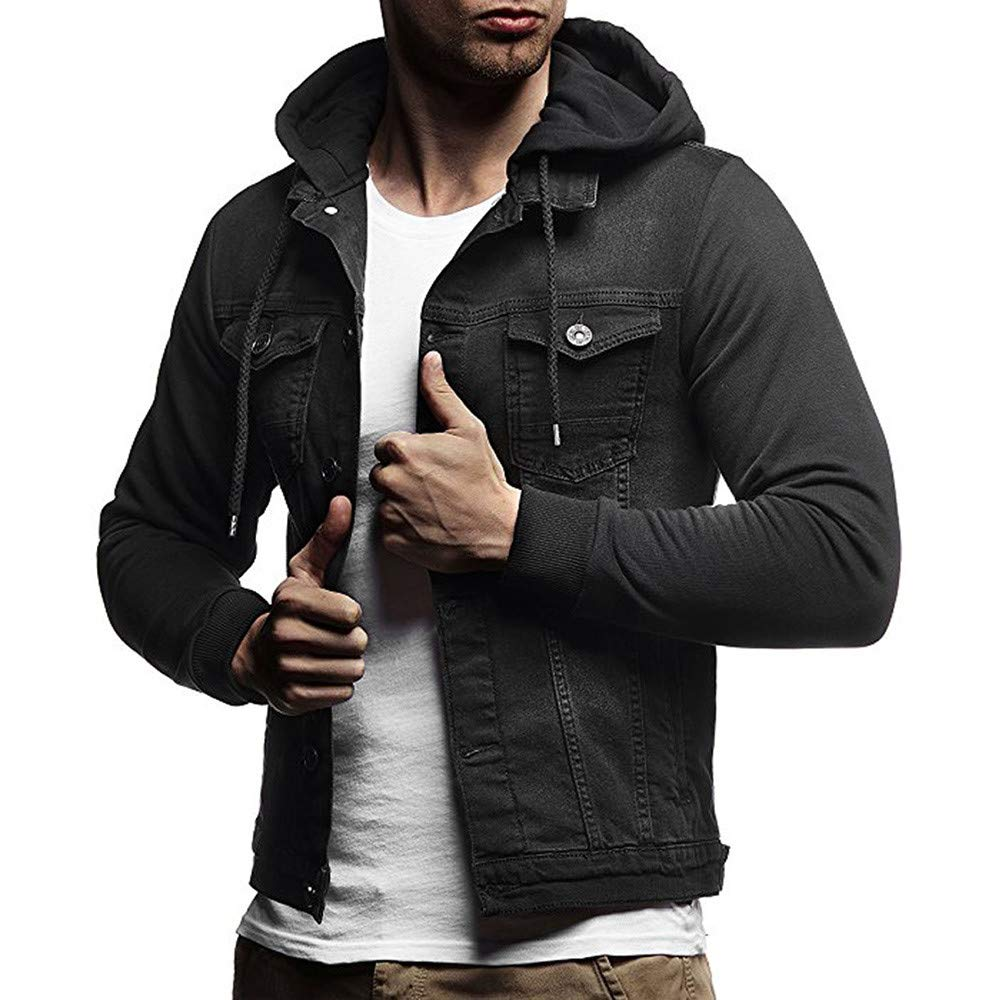 HHei_K Mens Casual Vintage Distressed Hooded Demin Jacket Slim Fit Button up Pocket Drawstring Hoodie Tops Coat