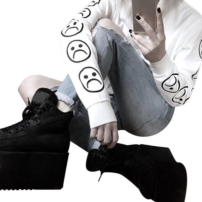 HARRYSTORE 2017 Nuevas mujeres Sad Faces Emoticon Sleeves Impreso Sudadera Blusa Black Tops (L,