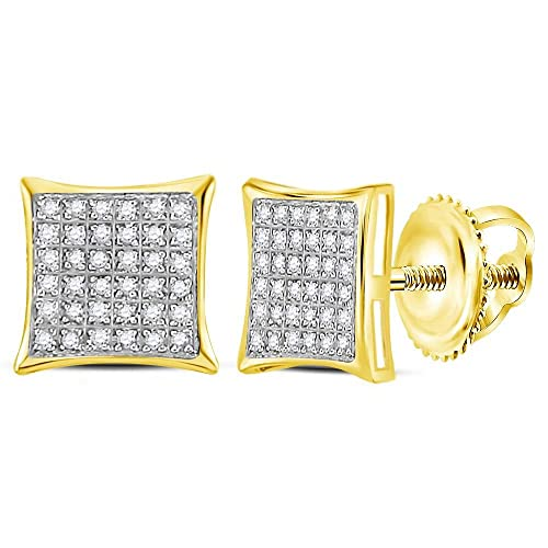 10k Yellow and White Two 2 Tone Gold Micro Pave Set Round Diamond Earrings Square Princess Shape – 9mm Height 9mm Width 1 4 cttw