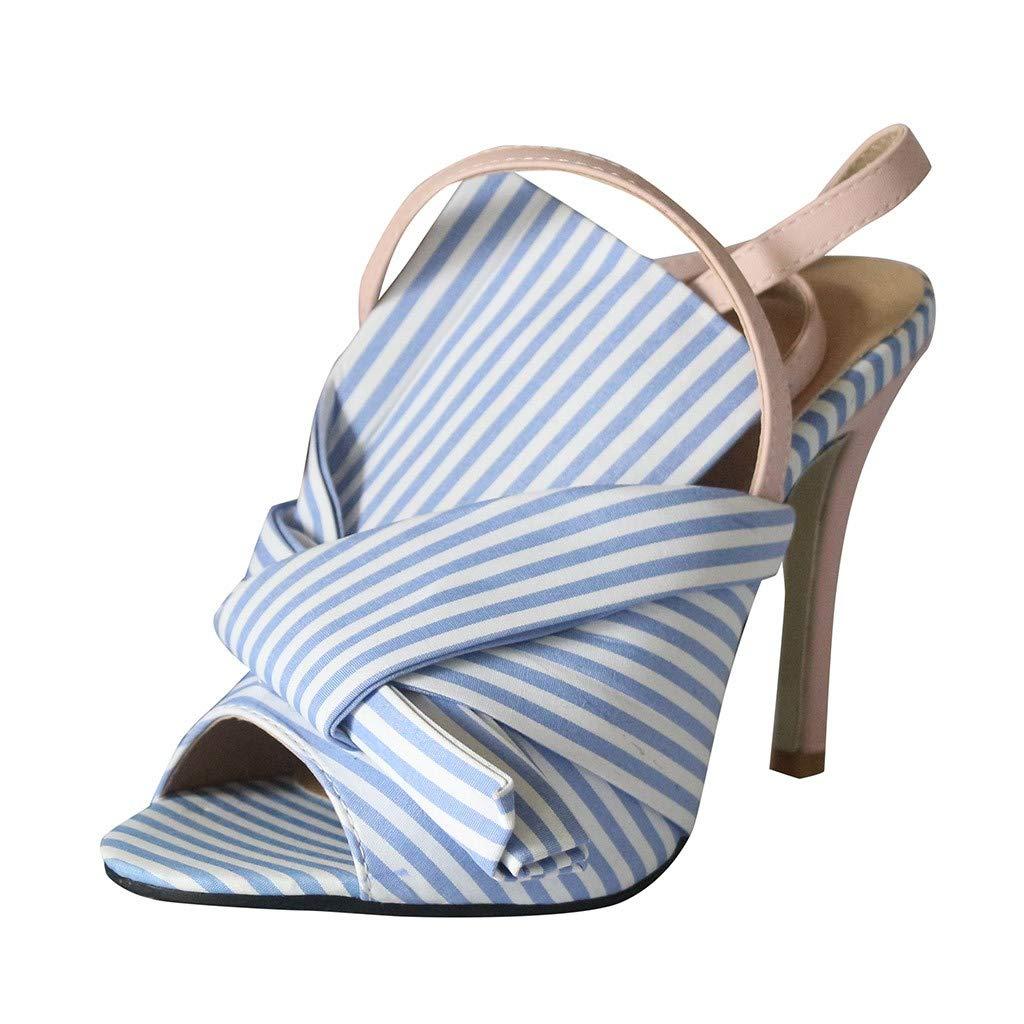 refulgence Women Heel Sandals,Bow Buckle Striped T-Shirt Design Shoes Slingback Flat Sandals(Blue,US=6)