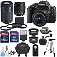 Canon EOS Rebel T6i 24.2MP DSLR Digital Camera & Canon EF-S 18-55mm f/3.5-5.6 IS STM Lens & EF-S 55-250mm f/4-5.6 IS STM + HD 58mm wide angle & Telephoto Lens +24GB Of Memory Class10 +Deluxe Bundle Basic Facts Review Image