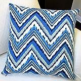 ARTISAN PILLOWS 18-inch Blue Chevron Zig Zag Outdoor Throw Pillows (Set of 2)