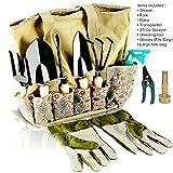 Kyпить scuddles - UPGRADED 2018 9 PIECE Heavy Duty GardenTools Set - Gardening Bag Organizer Includes - Shears, Fork, Rake, Trowel, Weeder, Water Sprayer, Power Jet Hose Spray & Gloves Gift на Amazon.com