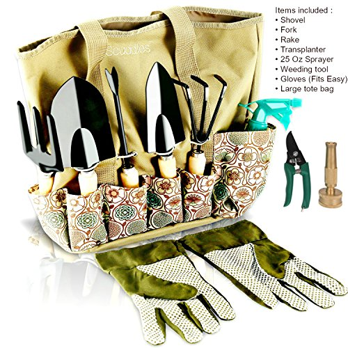 Scuddles Garden Tools Set - 8 Piece Gardening tools With Storage Organizer, Ergonomic Hand Digging Weeder, Rake, Shovel, Trowel, Sprayer, Gloves Gift for Man & Women (SCGB02)