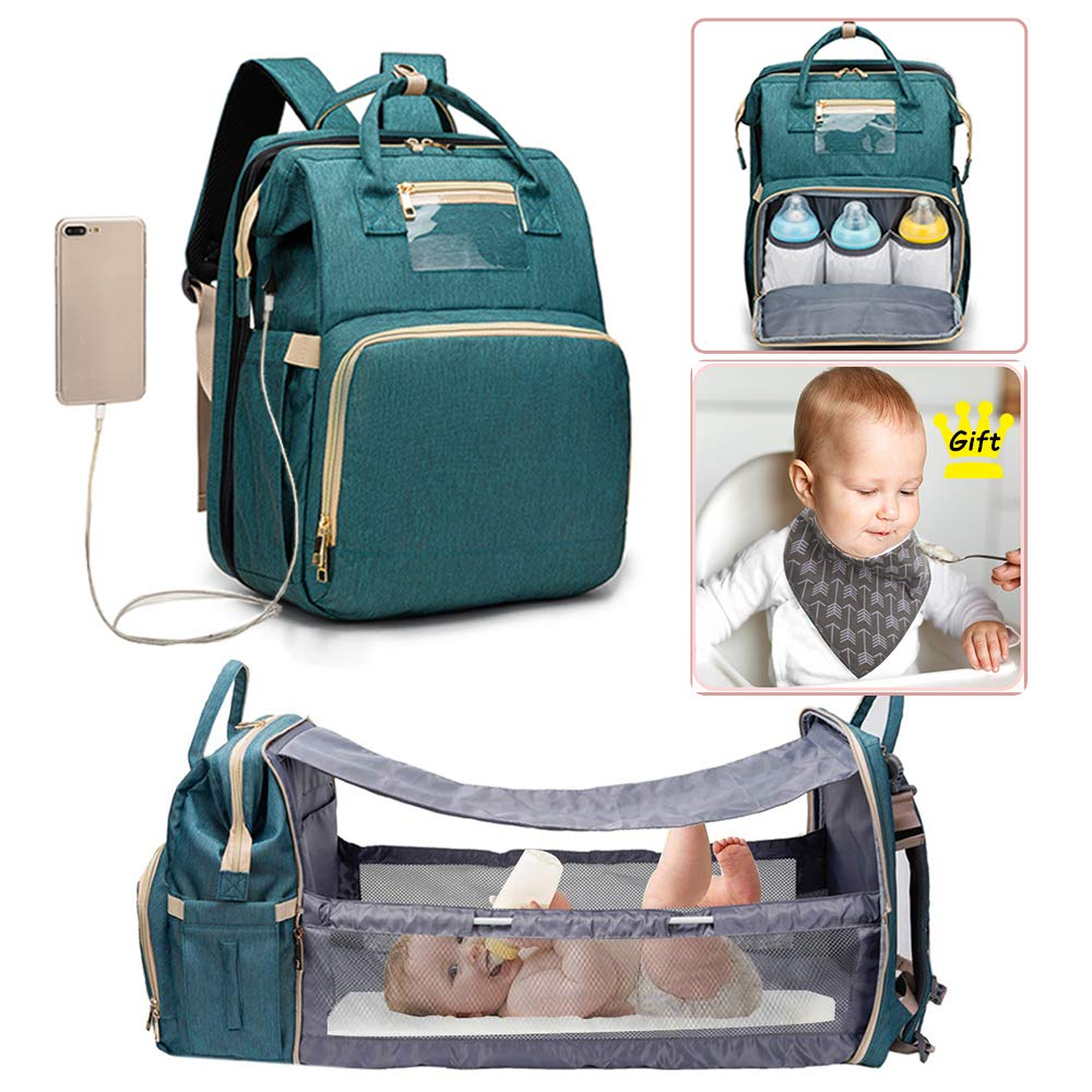Cosy Casa Baby Travel Diaper Bag Backpack with Bassinet Changing Mat Changing Station,Folding Crib Bag Foldable Mommy Bag for Baby Girl Boy Infant Mom Diaper-Bag-Backpack-Baby Blue Upgrade