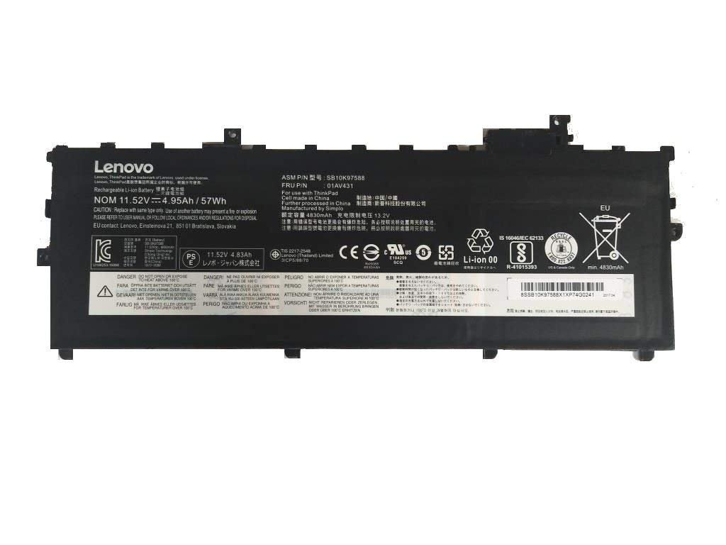 New Genuine Battery For Lenovo Thinkpad X1 Carbon 5th 2017 57Wh 11.52V SB10K97588