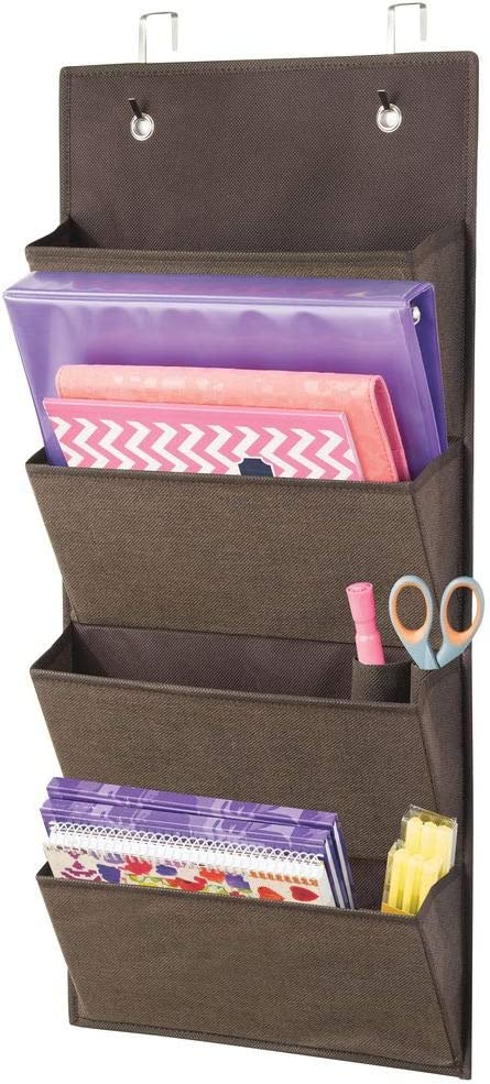 mDesign Soft Fabric Over Door Hanging Home Office Storage Organizer, 4 Large Cascading Pockets - Holds Office Supplies, Planners, File Folders, Notebooks - Textured Print - Espresso Brown