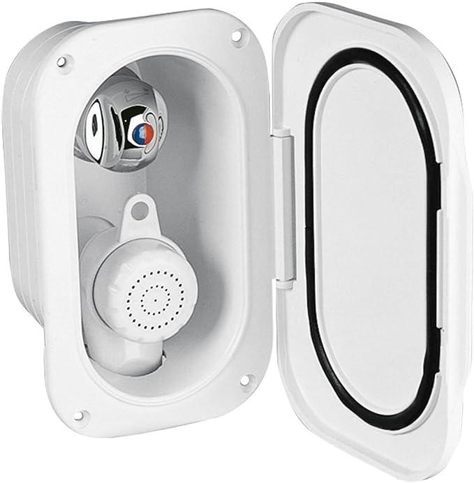 Nuova Rade Duscharmatur mit Mischbatterie im Einbaukasten mit Deckel weiß