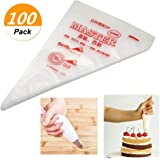 SelfTek 100Pcs Disposable Pastry Bags Icing Piping Baking Decoration Tools