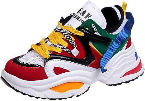 ASTAOT Zapatillas Deportivas para Mujer Zapatillas De Deporte con Amortiguación con Cordones Zapatillas Transpirables para Caminar Al Aire Libre Trotar Zapatillas De Senderismo Suaves para Caminar-R: Amazon.es: Deportes y aire libre