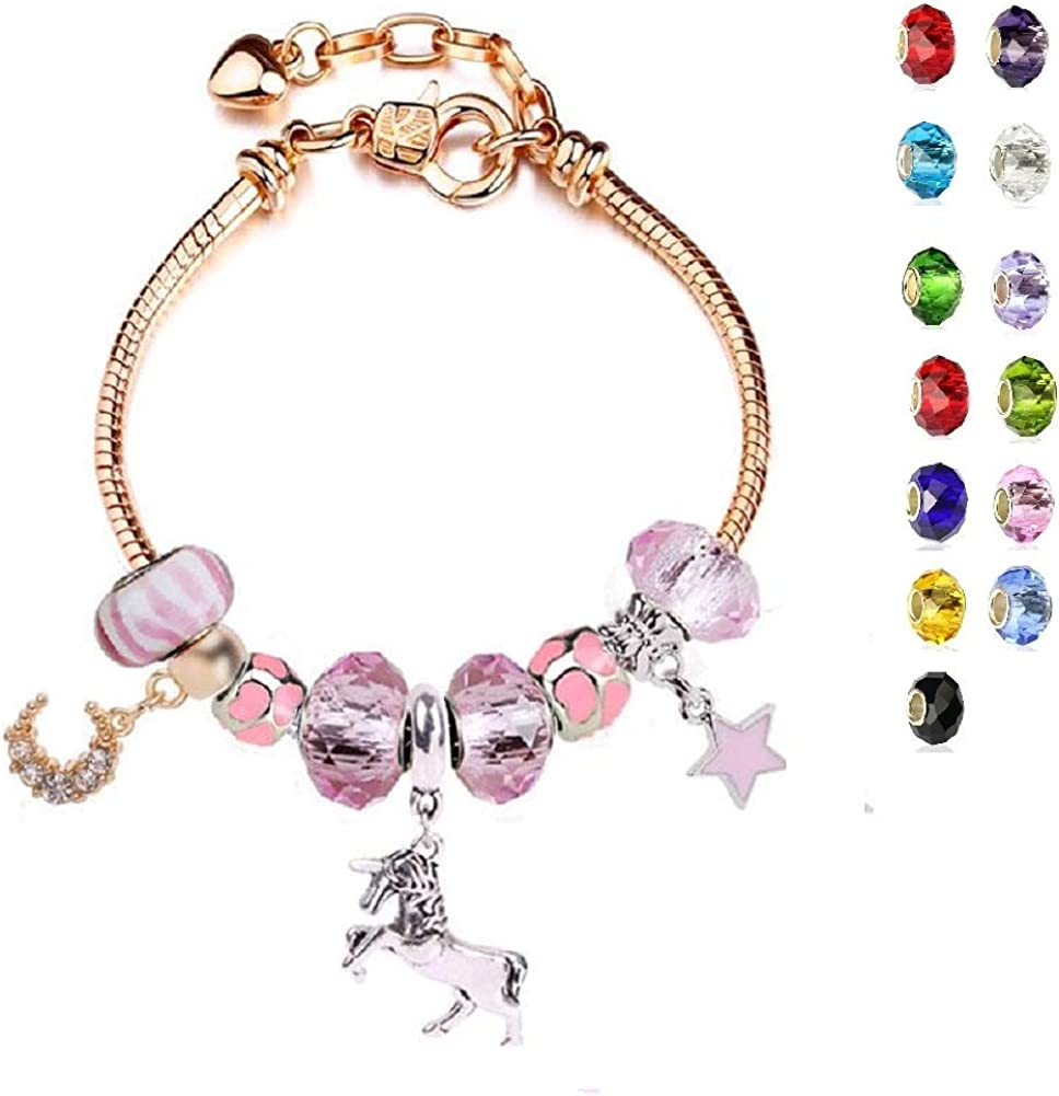 Amazon Com White Birch Heart Charm Bracelet For Girl Gold Tone With Charm Unicorn Star Moon For Pandora Adjustable 6 7 8 3 Inch Jewelry