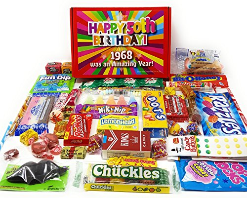 50th Birthday Candy Gift Box Full of Nostalgic Candy for 1967, Red
