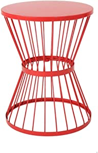 """Christopher Knight Home Lassen Outdoor 16"""" Iron Side Table, Matte Red"""