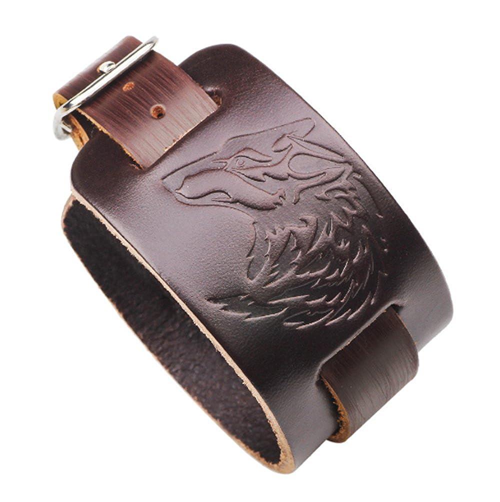 ASAKUSAIREN Leather Braided Wrap Bracelets Adjustable Wolf Wristband Rope Cuff Bangles Unisex Handmade Jewelry for Kids, Boys, Girls, Mens Mens (Black)