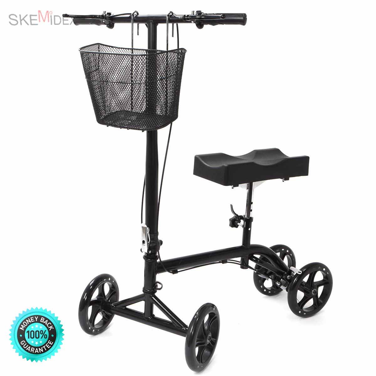 SKEMiDEX--- New Steerable Foldable Knee Walker Scooter Turning Brake Basket Drive Cart Black Material: PU wheel and pad, steel frame • Color: Black • Net weight: 30 lbs • Max weight capacity: 350 lbs.