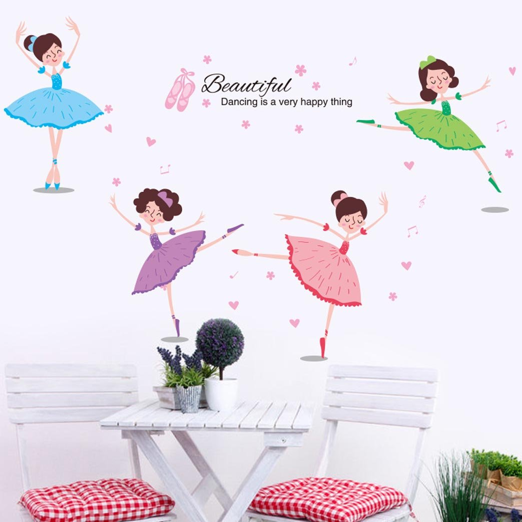 BIBITIME Dance Classroom Training Course Ballet Wall Decals 4 Beautiful Dancing Girl Wall Art Stickers for Girls Room Bedroom Kids Room Decor