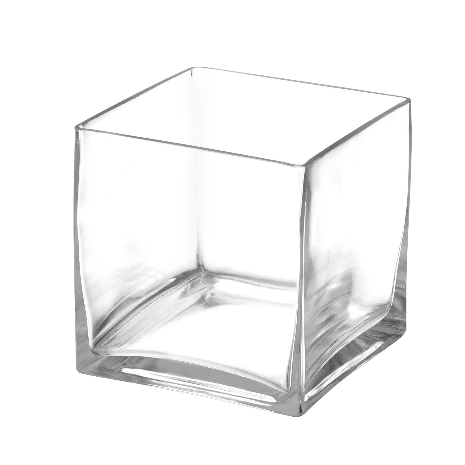 Royal Imports Flower Glass Vase Decorative Centerpiece Home Wedding Clear Glass, Cube Shape, 5'' Tall, 5''x5'' Opening