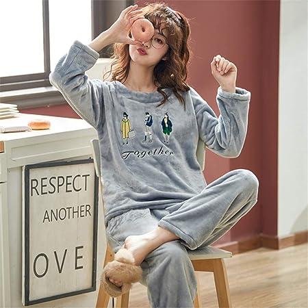 DUJUN Pijama de Franela Engrosamiento de Invierno para Mujer ...