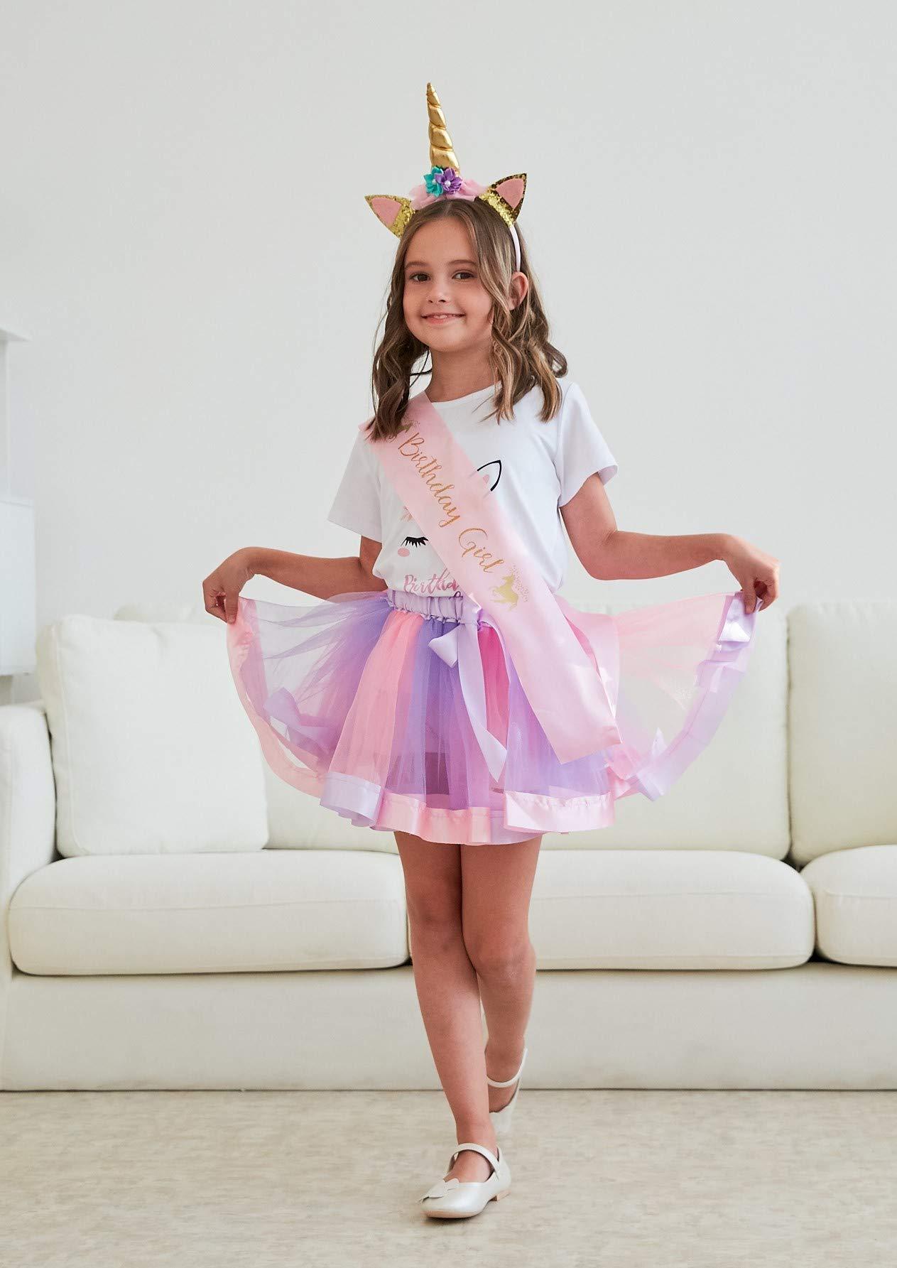Girls Layered Tutu Skirt with Unicorn Tshirt, Headband & Satin Sash 5