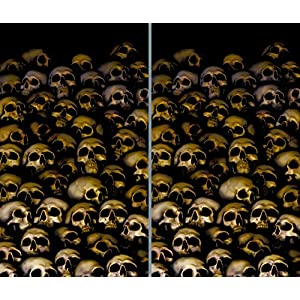 "Window Poster Halloween Catacombs Skulls by WOWindows USA-Made Decoration Includes 2 Reusable 34.5""x60 Backlit Posters"