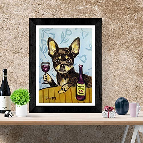 CHIHUAHUA at the wine bar  dog art print gift gifts 11x14