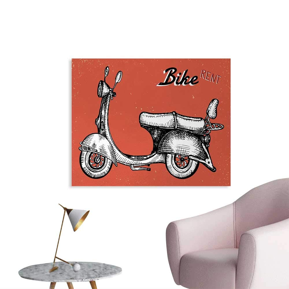 Tudouhoho Vintage Custom Poster Retro Scooter Sign for Bike Bicycle Rent Classic Grunge Illustration Artwork Poster Wall Decor Red Black White W28 xL20 by Tudouhoho