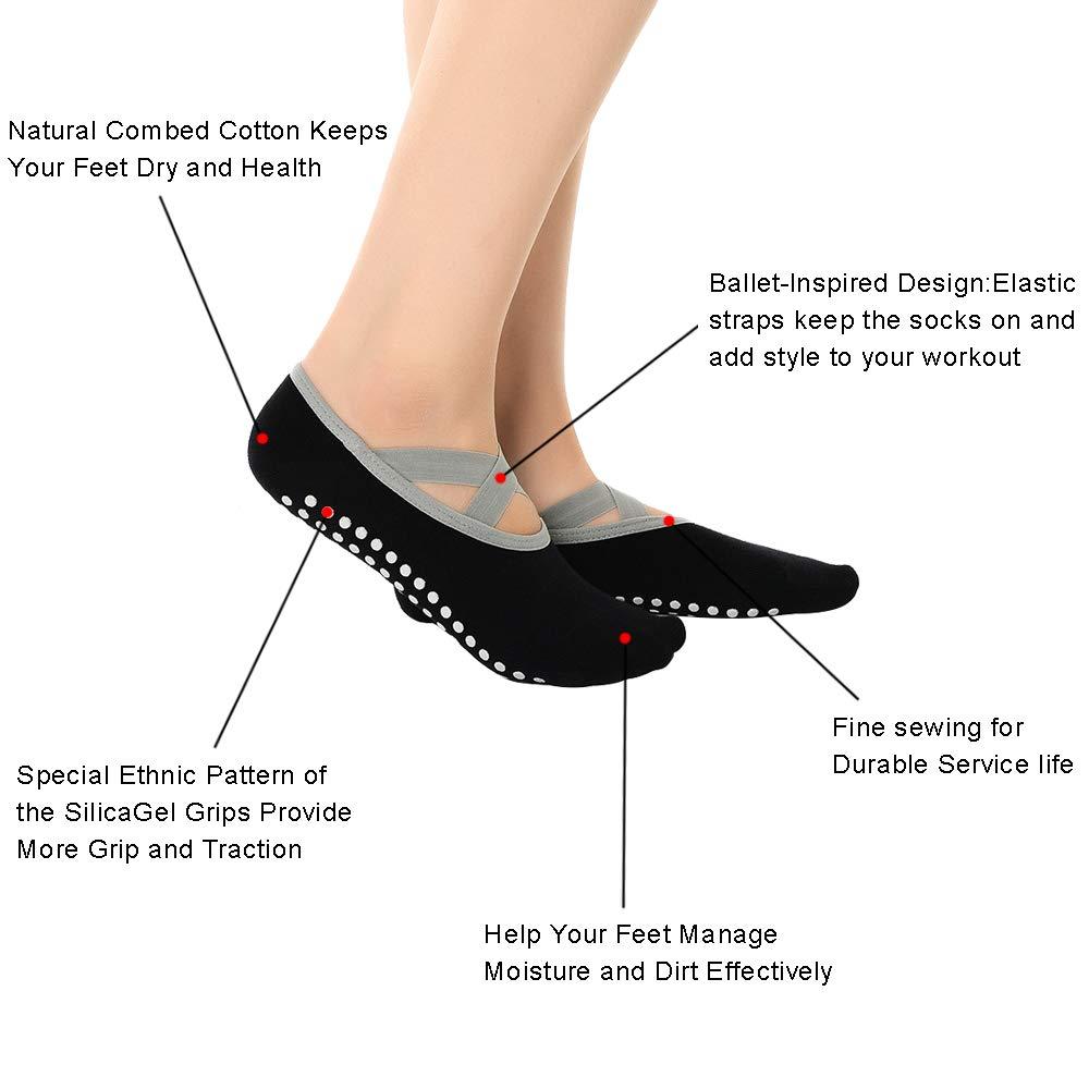 Chaussettes de Yoga Femme Chaussettes Antid/érapantes Femmes avec Particules Anti-Glisse pour Pilates Ballet Danse Barre,Coton Unisexe Yoga Socks EU 35-40
