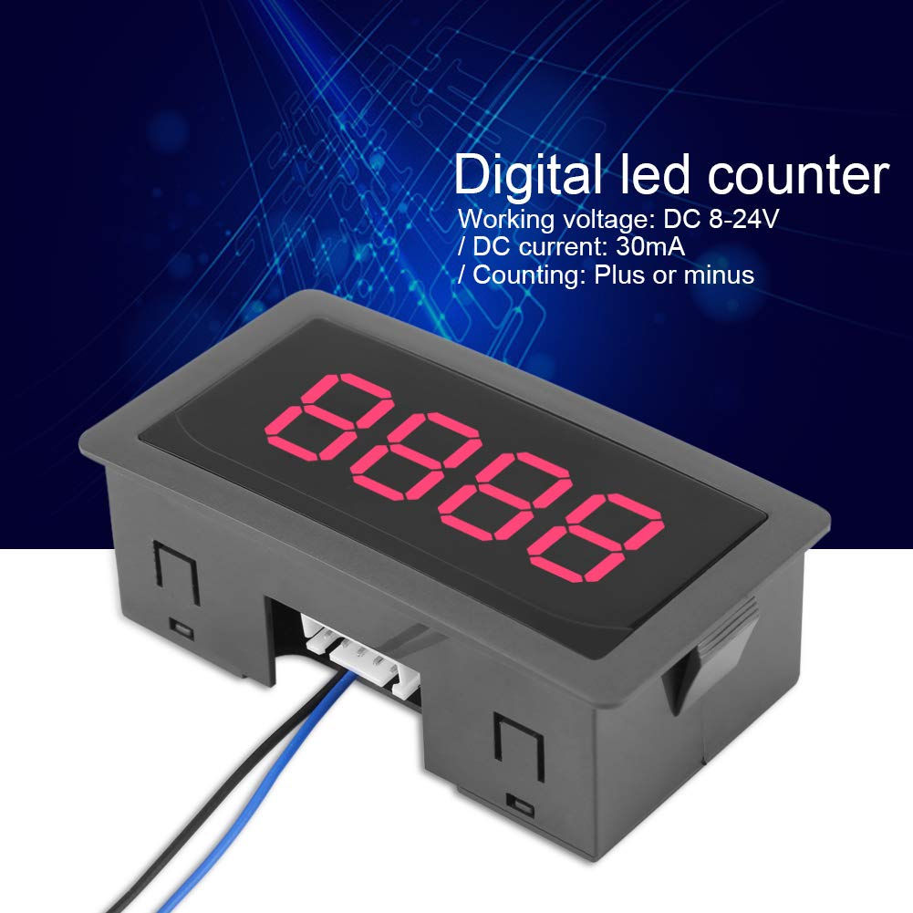 FTVOGUE Auto Digital Counter DC LED Digital Display 4 Digit 0-9999 Up//Down Plus//Minus Panel Counter Meter with Cable Blue