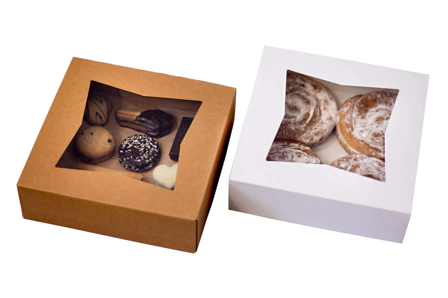 Technilyx Bakery boxes with window 8''x8''x2.5''(25 PACK) White Paperboard Auto-Popup really easy to assemble.Extra Thick and Sturdy perfect for cookies, pastries, cakes, donuts, muffins.
