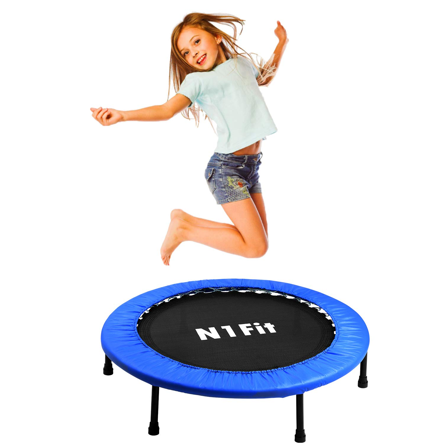 N1Fit Mini Trampoline for Adults - Exercise Trampoline, Mini Trampolines, Personal Trampoline, Trampoline Small Indoor, Rebounding Tiny Trampoline with Springs System for Home Cardio Workouts 40'' by N1Fit (Image #5)