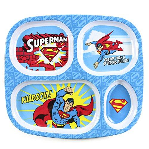 (Bumkins DC Comics Superman Divided Plate, Melamine Tray Plate, Toddler, Kids, BPA Free, Stackable, Dishwasher Safe)