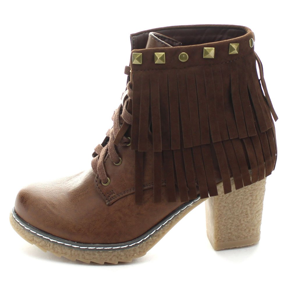 Size:6.5 NATURE BREEZE FOREST-03 Women Lace Up Boho Fringe Studded Chunky Heel Booties Color:BROWN