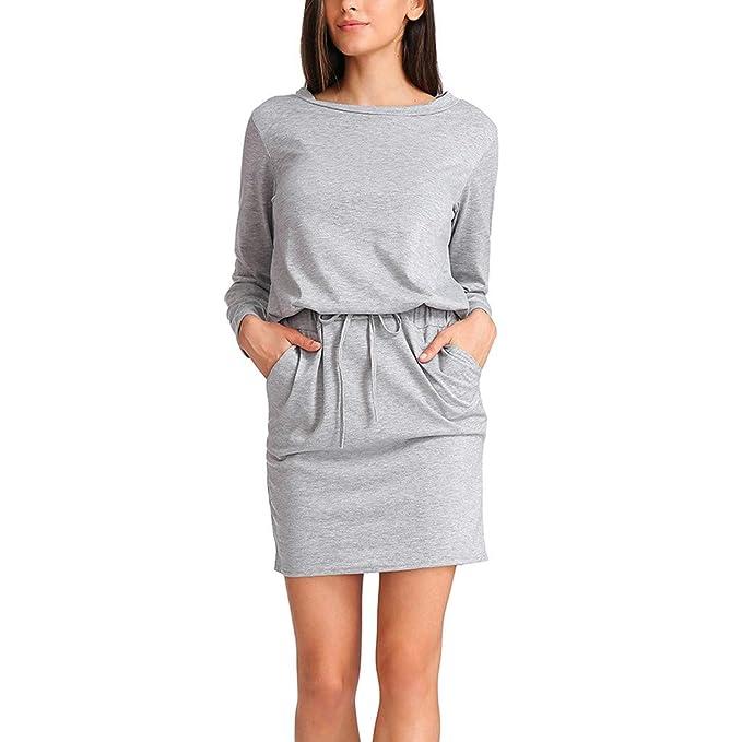 Mujer Vestido Punto Vestidos Con Suéter Bolsillos De Casual e2YWHED9bI
