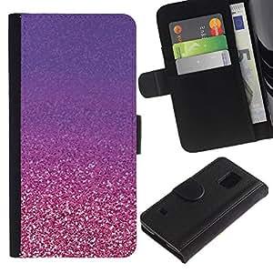 Billetera de Cuero Caso Titular de la tarjeta Carcasa Funda para Samsung Galaxy S5 V SM-G900 / Gold Purple Copper Bling / STRONG