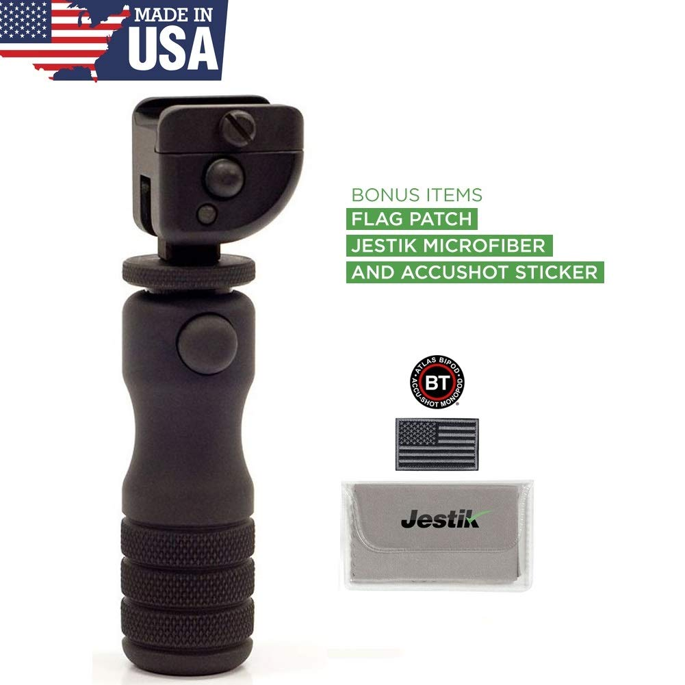 Accu-Shot BT13-QK Mid-Height Precision Rail Monopod with Quick Knob Plus USA Flag Patch and Jestik Microfiber Cleaning Cloth by Accu-Shot