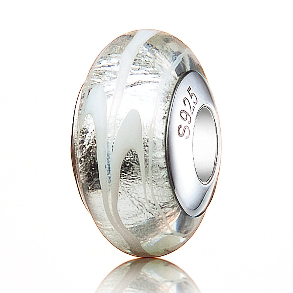 athenaie Argent 925Core à rayures Blanc Argent Murano perles charms en verre AMGB48