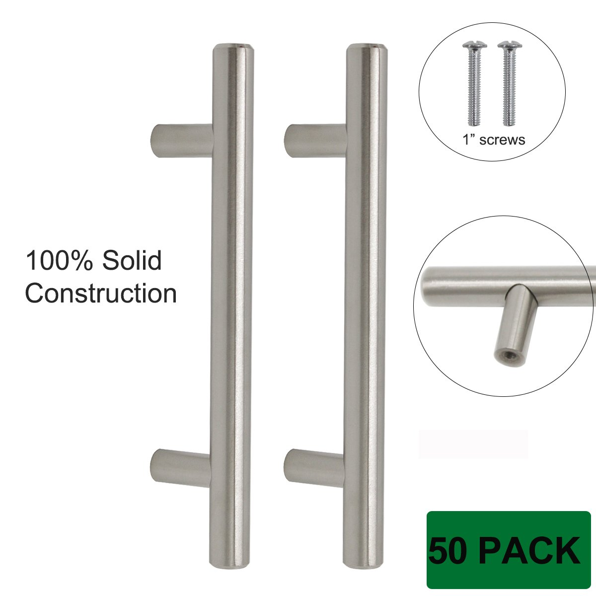 Probrico Kitchen Cabinet Knobs And Pulls Brushed Nickel T Bar Handles SOLID Stainless Steel 50 Pack, 3-3/4 Inch Screws Spacing