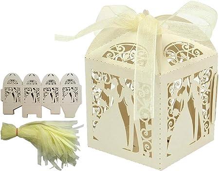 ALPHA DIMA 50 Piezas Caja para Bombones Caramelos Dulces Caja para Regalo con Cintas,Recuerdos para Bautizos Bodas Fiesta Cumpleaños(Beige): Amazon.es: Hogar