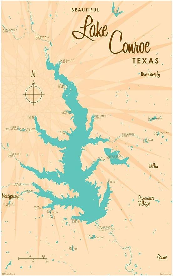 Amazon Com Lake Conroe Texas Vintage Style Map Art Print Poster