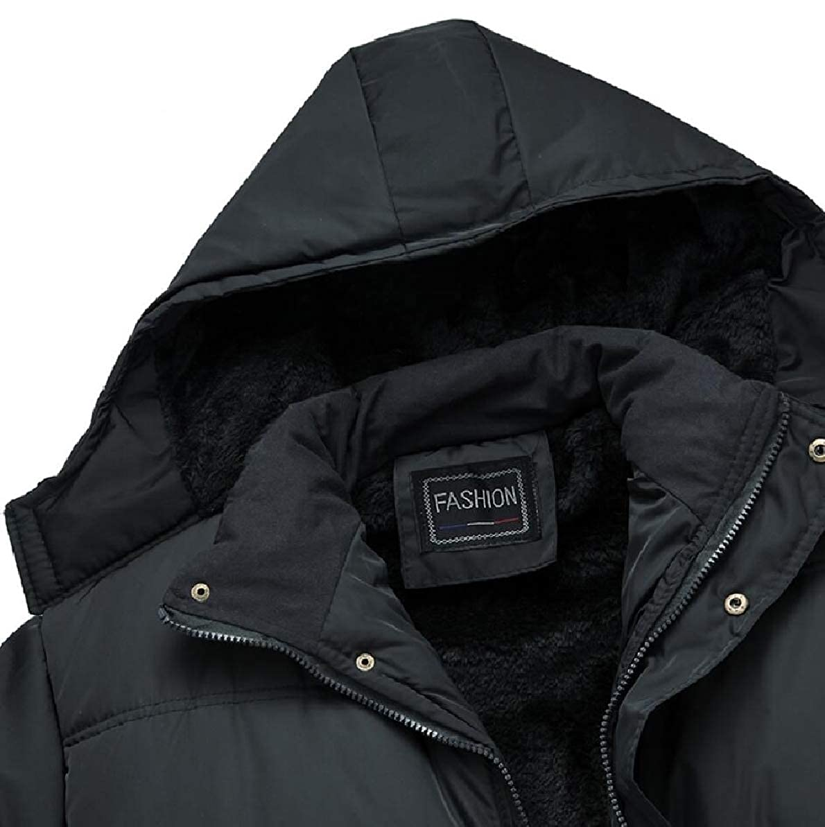 FLCH+YIGE Mens Warm Winter Quilted Outwear Thicken with Hood Fleece Down Jacket Coat