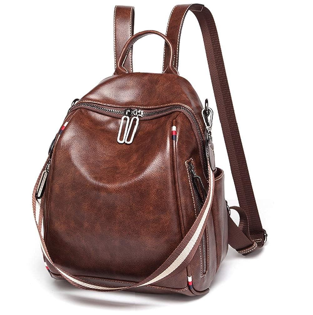 JeHouze ファッション レディース ハンドバッグ 本革 ビンテージ レザー バックパック カジュアル ショルダー バッグ 防水 財布 (コーヒー)   B07L7SDRBK