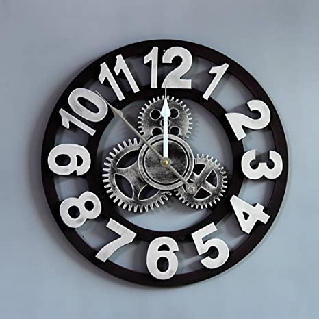 Relojes De Pared Engranaje Vintage Silencioso Reloj Circular Viento Industrial Etiqueta De La Pared Decoración Creatividad
