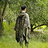 UNIQUEBELLA Outdoor Rain Poncho with Hood for Men & Women, 3 in 1 Raincoat Waterproof Camouflage Poncho for Camping, Hiking and Travel