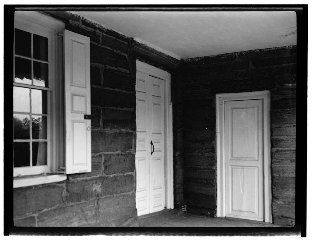 8 x 12 Photo Historic American Buildings Survey, John P. O'Neill, Photographer June 3, 1938 East Floor Doors Window in East Porch. - John Bartram House, Fifty-Fourth Street, Philadel 1863 61a