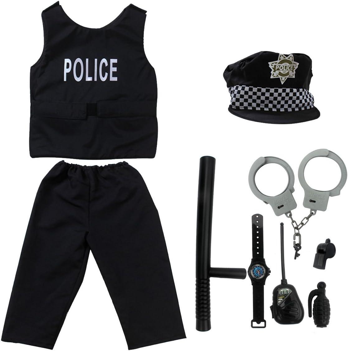 YiZYiF Mens 5PCS Police Officier Costume Outfit Brief Cuff Role Play Uniform Set
