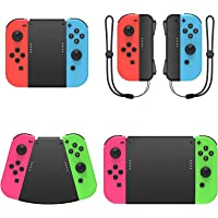 Fyoung 5 in 1 Hand Grip Connector Pack Compatible with Nintendo Switch Joy Con with Wrist Strap, Game Handle Connector…