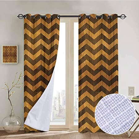 Nuomanan Pattern Curtains Chevron Zigzag Chevron V Shaped Motif Medieval Heraldry Symbol On Wood Style Background Light Brown Living Room And Bedroom Multicolor Printed Curtain Sets 52 X72 Amazon Co Uk Kitchen Home