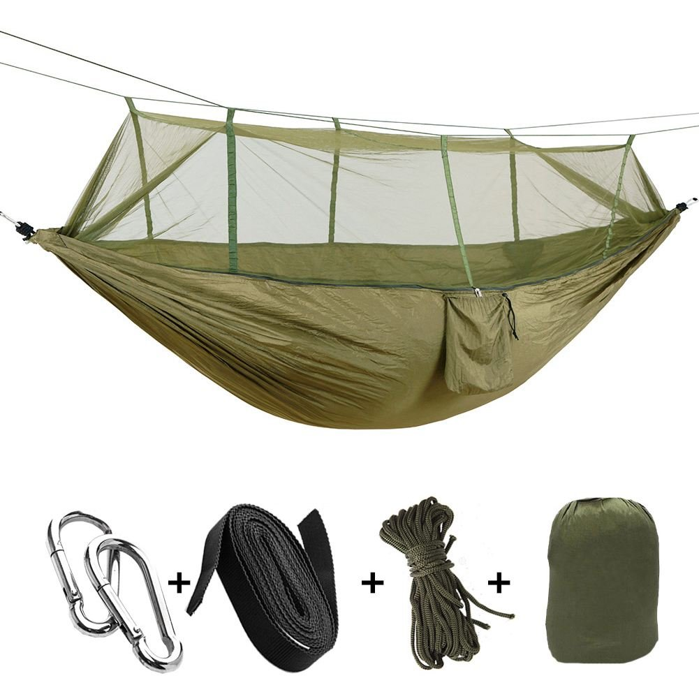 JVSISM Portable Haute Resistance Paracute Tissu Camping Hamac Lit Suspendu avec Moustiquaire Hamac de Couchage en Filet Camo