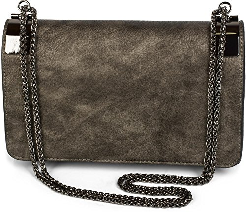 Rose clutch ladies Color vintage design styleBREAKER bag and Old 02012046 coil with clasp Antique metal plain evening dark Grey chain Dark T7qwq4